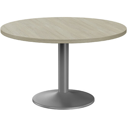 Fermo Round 1200mm Diameter Meeting Room Table With Arctic Oak Top Anthracite Trumpet Base