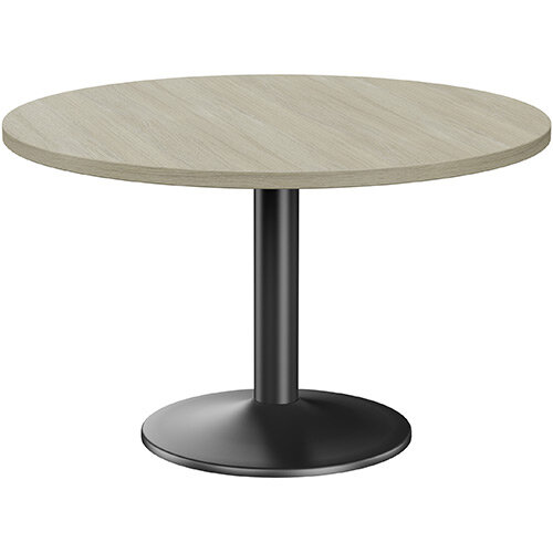 Fermo Round 1200mm Diameter Meeting Room Table With Arctic Oak Top Black Trumpet Base