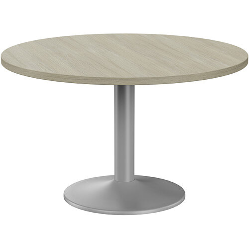 Fermo Round 1200mm Diameter Meeting Room Table With Arctic Oak Top Silver Trumpet Base