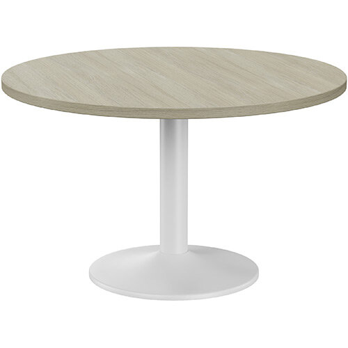 Fermo Round 1200mm Diameter Meeting Room Table With Arctic Oak Top White Trumpet Base