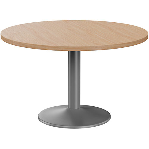 Fermo Round 1200mm Diameter Meeting Room Table With Beech Top Anthracite Trumpet Base