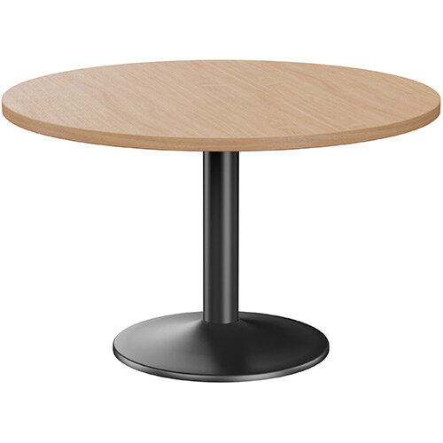 Fermo Round 1200mm Diameter Meeting Room Table With Beech Top Black Trumpet Base
