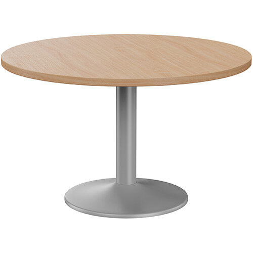 Fermo Round 1200mm Diameter Meeting Room Table With Beech Top Silver Trumpet Base