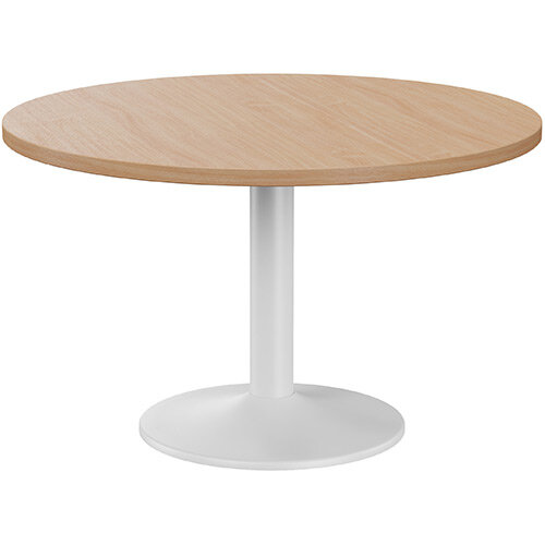 Fermo Round 1200mm Diameter Meeting Room Table With Beech Top White Trumpet Base