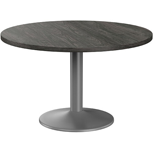 Fermo Round 1200mm Diameter Meeting Room Table With Carbon Walnut Top Anthracite Trumpet Base