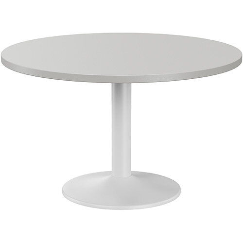 Fermo Round 1200mm Diameter Meeting Room Table With Grey Top White Trumpet Base