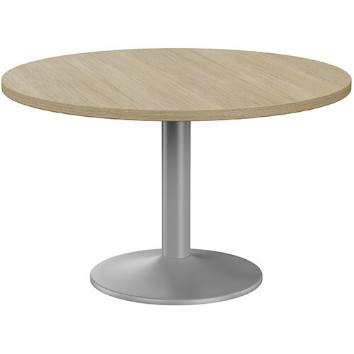 Fermo Round 1200mm Diameter Meeting Room Table With Urban Oak Top Silver Trumpet Base