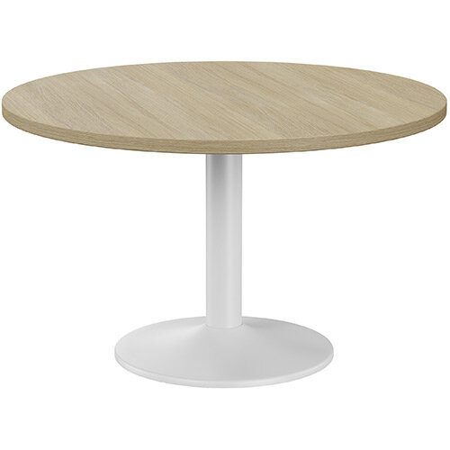Fermo Round 1200mm Diameter Meeting Room Table With Urban Oak Top White Trumpet Base