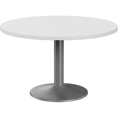 Fermo Round 1200mm Diameter Meeting Room Table With White Top Anthracite Trumpet Base