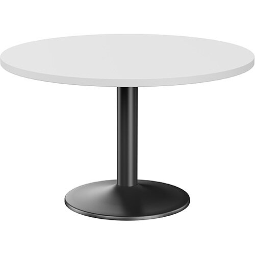 Fermo Round 1200mm Diameter Meeting Room Table With White Top Black Trumpet Base
