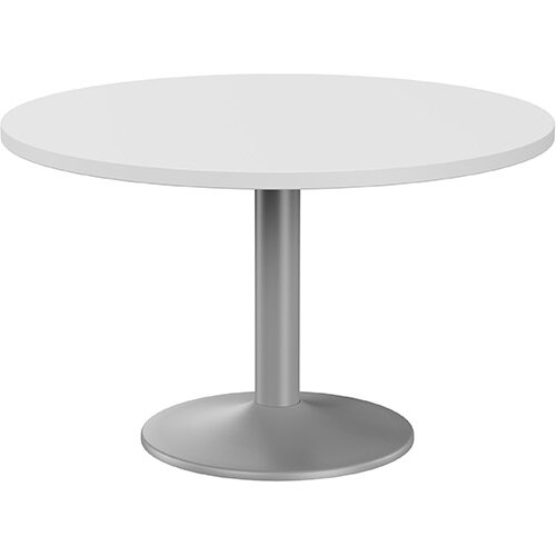 Fermo Round 1200mm Diameter Meeting Room Table With White Top Silver Trumpet Base