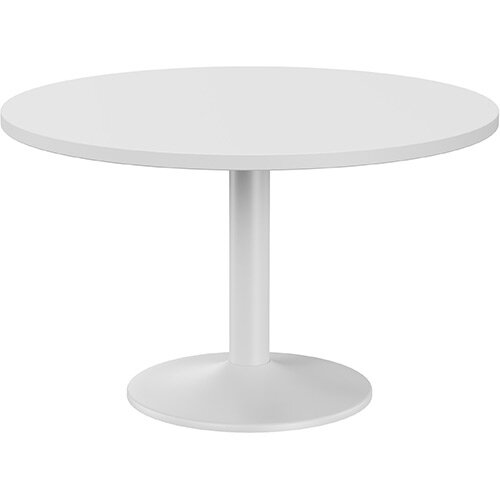 Fermo Round 1200mm Diameter Meeting Room Table With White Top White Trumpet Base