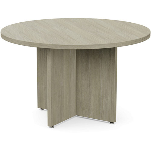 Fermo Round 1200mm Diameter Meeting Room Table With Cross Panel Base Arctic Oak