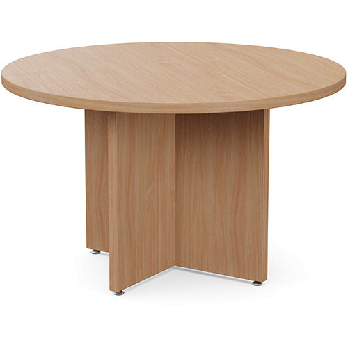 Fermo Round 1200mm Diameter Meeting Room Table With Cross Panel Base Beech