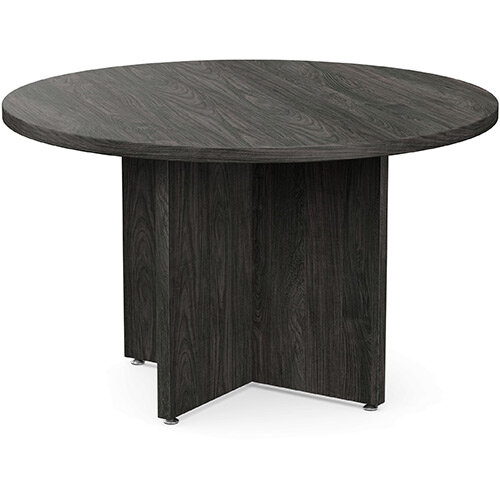 Fermo Round 1200mm Diameter Meeting Room Table With Cross Panel Base Carbon Walnut