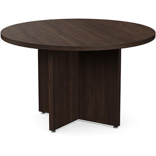 Fermo Round 1200mm Diameter Meeting Room Table With Cross Panel Base Dark Walnut