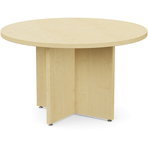Fermo Round 1200mm Diameter Meeting Room Table With Cross Panel Base Maple