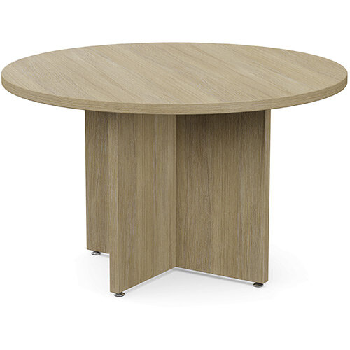 Fermo Round 1200mm Diameter Meeting Room Table With Cross Panel Base Urban Oak