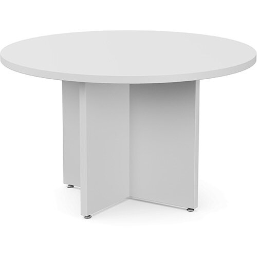 Fermo Round 1200mm Diameter Meeting Room Table With Cross Panel Base White