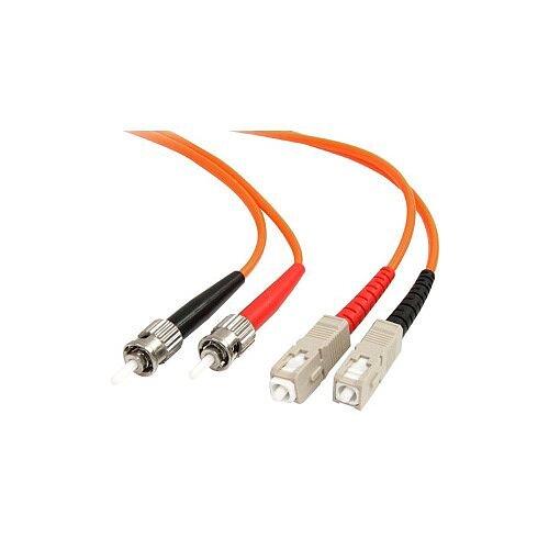 StarTech 2m Fiber Optic Cable Multimode Duplex 62.5/125 LSZH ST /SC OM1 ST to SC Fiber Patch Cable FIBSTSC2