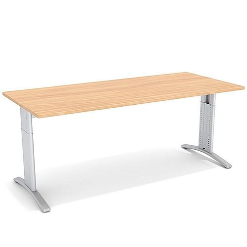 Flex R Height-Adjustable Rectangular Desk 1800x800x640-840mm Beech