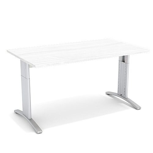 Flex R Height-Adjustable Rectangular Desk 1400x800x640-840mm White
