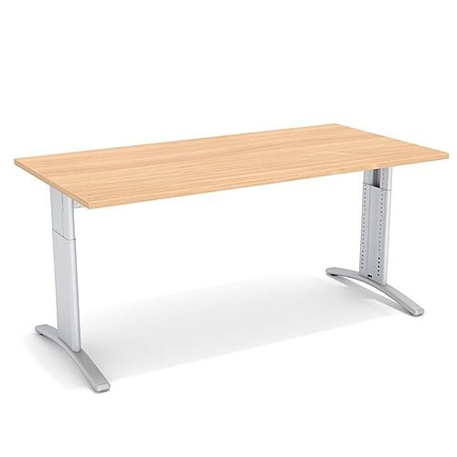 Flex R Height-Adjustable Rectangular Desk 1600x800x640-840mm Beech
