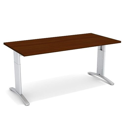 Flex R Height-Adjustable Rectangular Desk 1600x800x640-840mm Walnut
