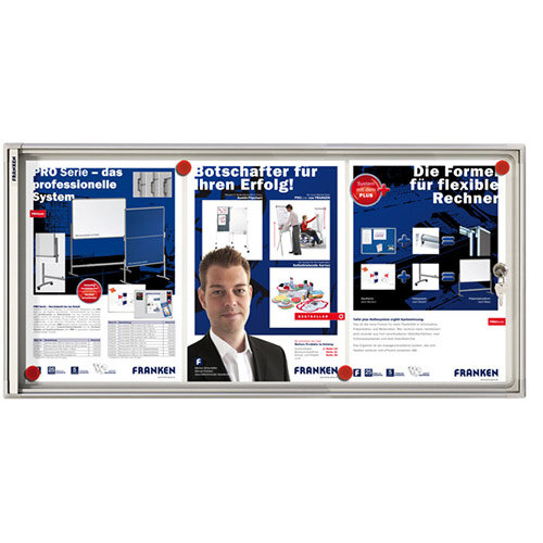 Franken Flat Display Cases ValueLine Magnetic Metal 3 x A4 FSA3