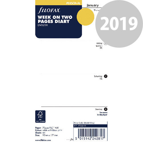 Filofax Personal Week To View Refill 2019 19-68421