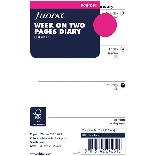 Filofax Pocket 2021 Diary Refill Week to View 21-68221