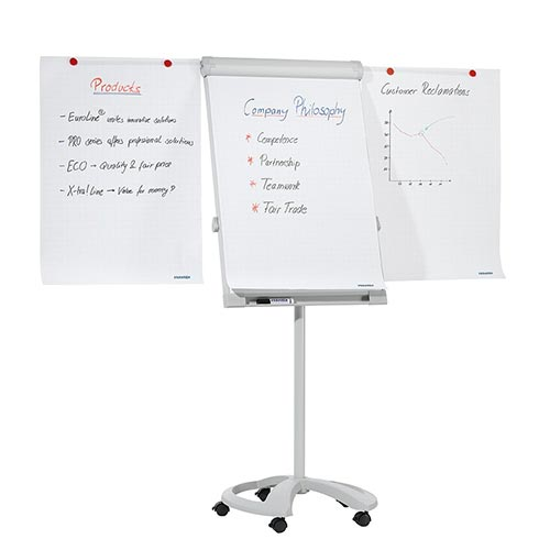 Franken DeLuxe Magnetic Mobile Flipchart Easel with 2 Extension Arms FC81