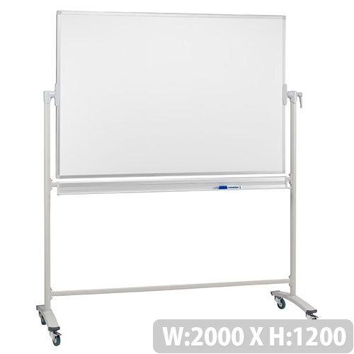 Franken Revolving Magnetic Whiteboard Enamel/Projection Mobile Aluminium Frame 2000x1200mm ST217
