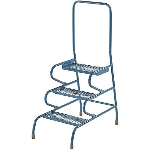 Fort Stable Stool Steps 3 Step with Handrail Painted Blue Height 1.19m GS3013M