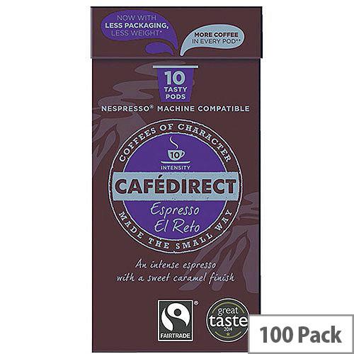 Cafedirect Nespresso Compatible Pods El Reto Pack of 100 FCR0037