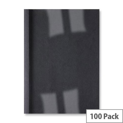 GBC A4 Thermal Binding Cover 3mm 250gsm PVC/Leathergrain Back Clear/Black Pack 100