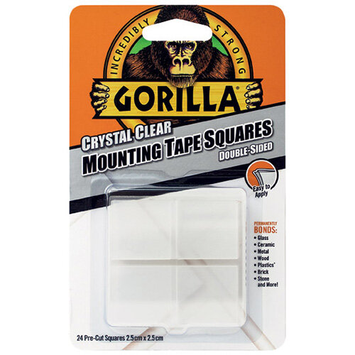 Gorilla Mounting Tape Squares Clear Pack of 24 3044111