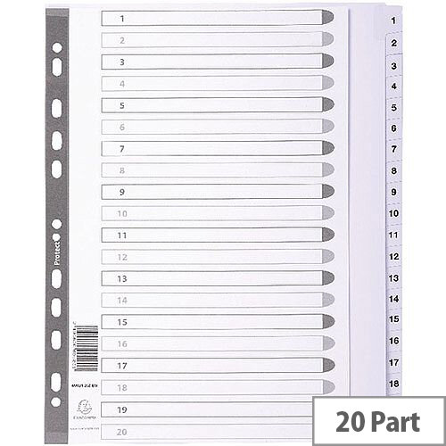 Subject Dividers Mylar A4 Maxi White 1-20 MWD1-20Z-EW