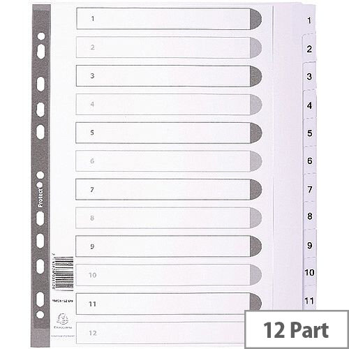Guildall Mylar Index 1-12 A4 White MWD1-12Z