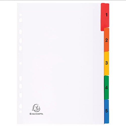 Exacompta A4 White Index Coloured Tabs 1-5 1105E