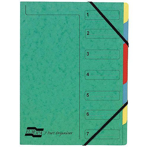 Europa 7-Part Organiser A4 Green 5220Z