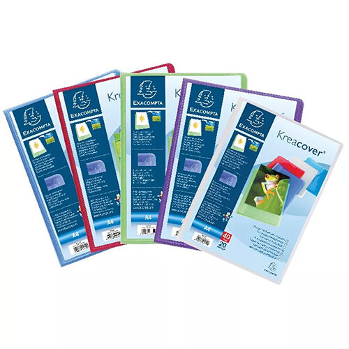 Exacompta Kreacover Display Book 20 Pocket Assorted Pack of 20 5729E