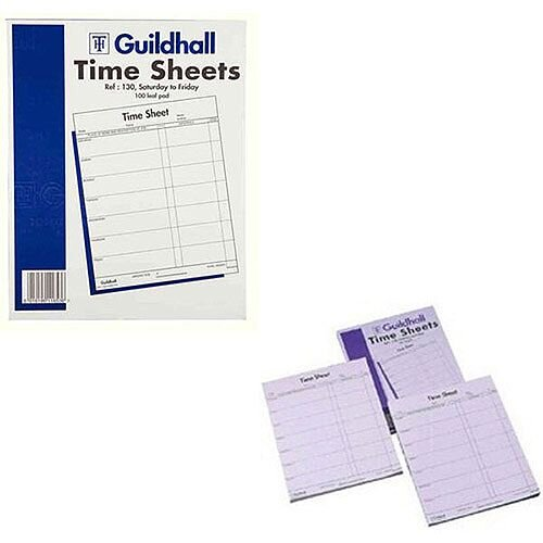 Guildhall Workmen's Time Sheet 10x8 Inches Saturday-Friday Pk 100 130