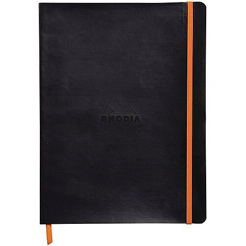 Rhodiarama Soft Notebook B5 Black - Embossed Rhodia Logo, Soft Black Cover, Orange Elasticated Closure &160 High Quality Lined Pages For Optimum Legibility. Ideal For Taking Notes On The Go, Scheduling Meetings &More.