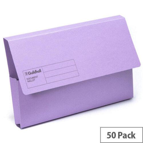 Guildhall Document Wallet Violet Pack of 50 GDW1-VLT