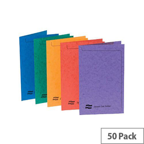 Europa Assorted Square Cut Folders A4/Foolscap Pack of 50