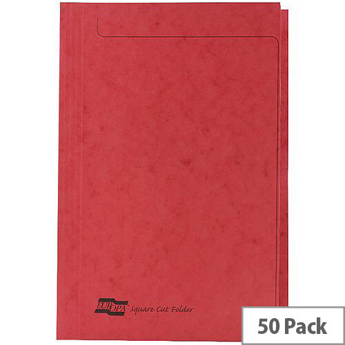 Europa Red Square Cut Folder Foolscap Pack of 50
