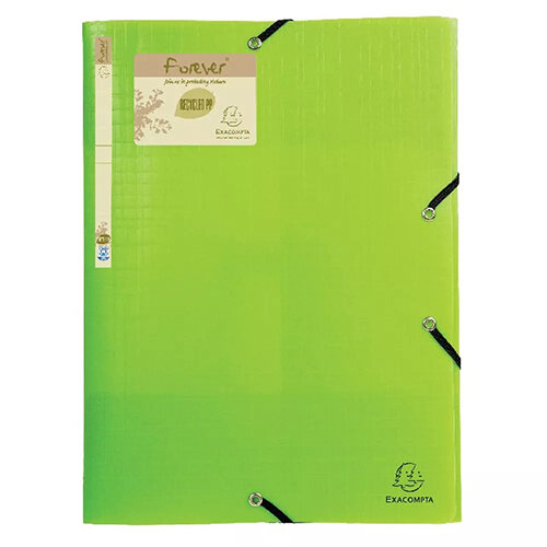 Forever Elasticated 3 Flap Folder Lime Pack of 15 551573E