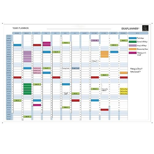 Exacompta Magnetic Perpetual Year Planner – Size W900 x H590mm Magnetic, Aluminium, Colour Coding, Accessory Kit, Eco-Friendly, Dry-Wipe &Wall-Mountable (56153E)