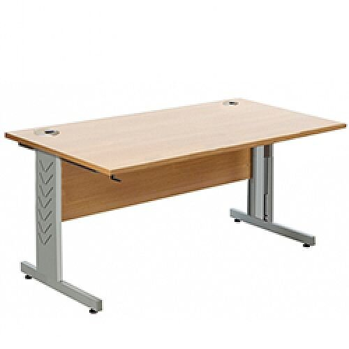 Giorgio Height-Adjustable Rectangular Desk 1400x800x650-950mm Beech